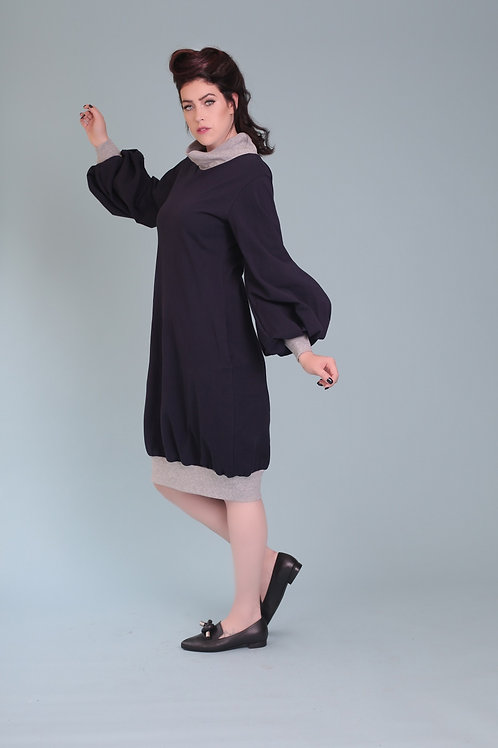 "Navy Blue Turtle-Neck Dress ""Angie"""