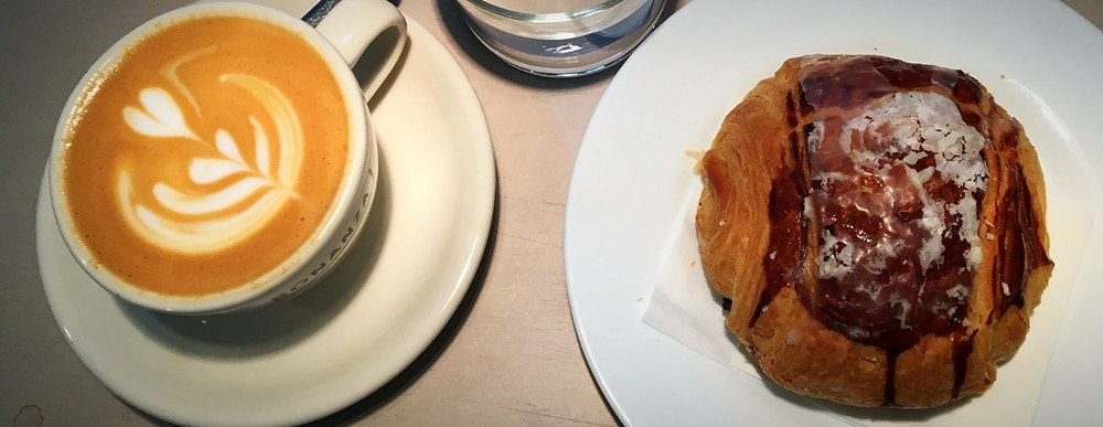 Cappuccino and pain au chocolat.
