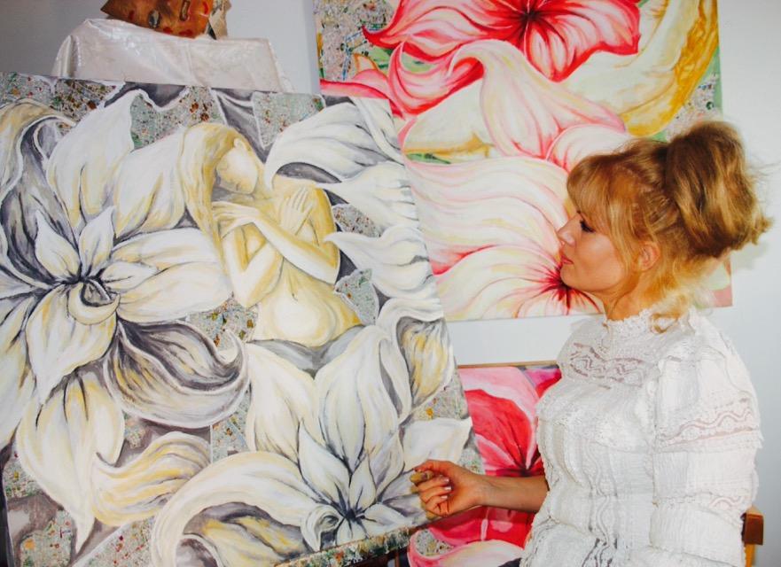 Charlotta painting Healing Garden