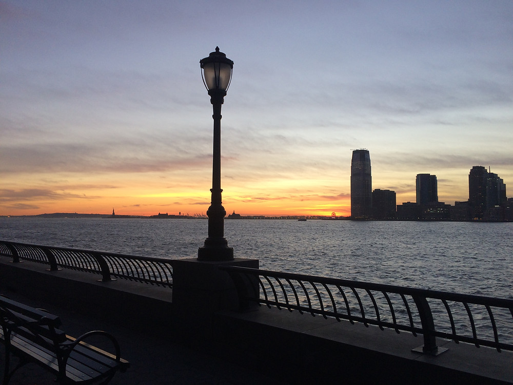 Tramonto ad Hudson River a New York