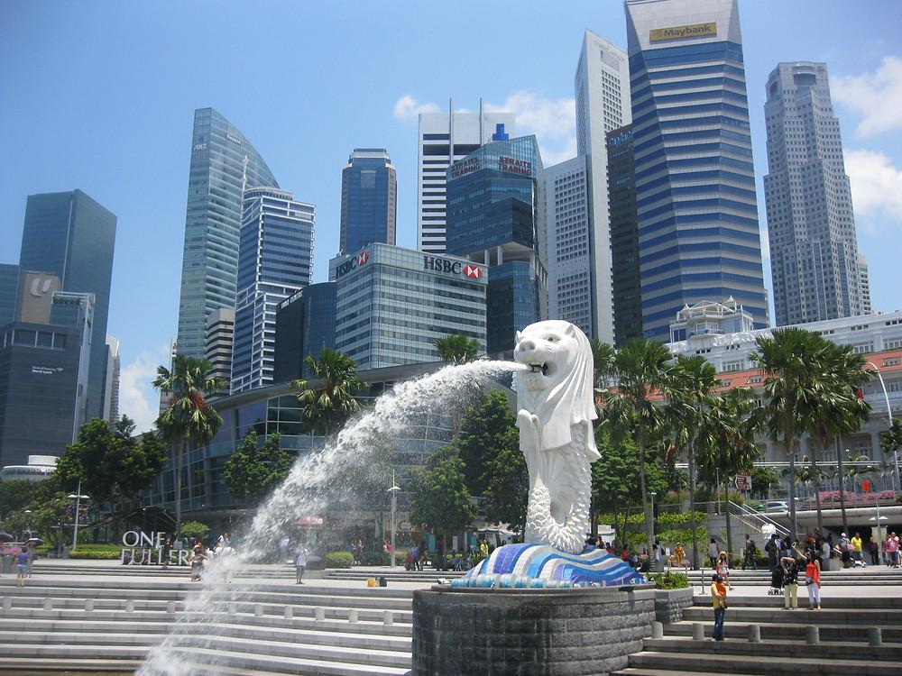 Merlion Park, Singapore, cuore del distretto finanziario della città