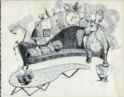 Möbel-Tier-Fantasie (biro on paper)