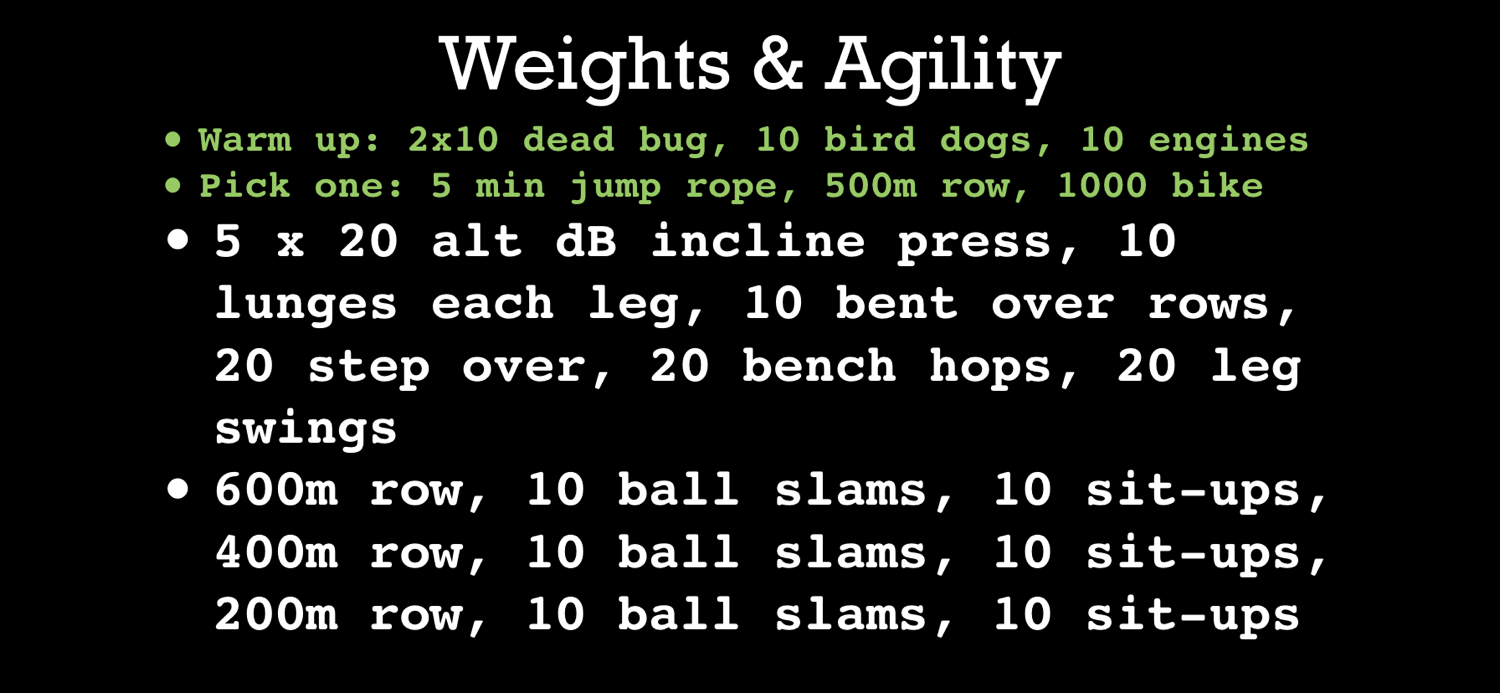 Weights and Agility