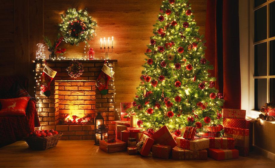 interior christmas. magic glowing tree,