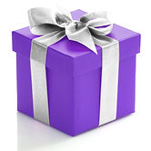 Single purple gift box with silver ribbo