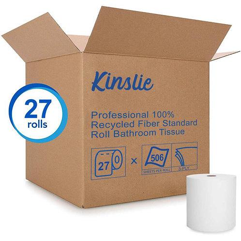 Kinslie Standard Rolls Toilet Paper, 3-PLY, 506 Sheets / Roll, 27 Rolls / Case