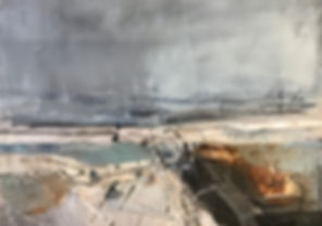 estuary- breakwater  (oil sketch) 16 m.j