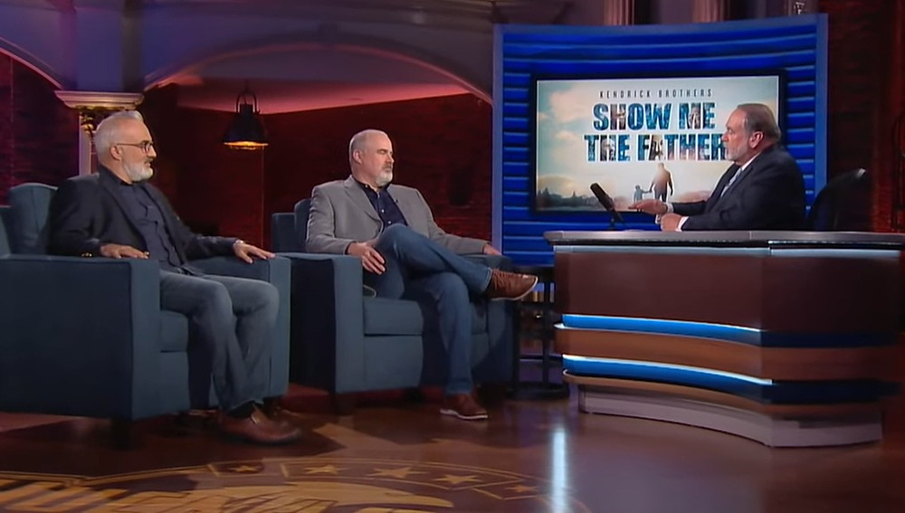 """Stephen Kendrick (left) and Alex Kendrick appear on the """"Huckabee"""" show with Mike Huckabee to discuss """"Show Me the Father."""""""