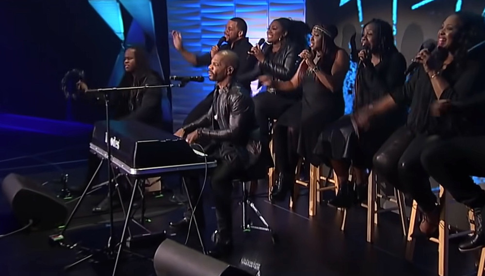 """Kirk Franklin performs at a concert in a scene from """"The Jesus Music."""""""