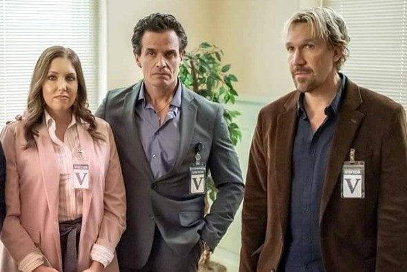"""Antonio Sabato Jr. (middle), Francesca Battistelli and David A.R. White in a scene from """"God's Not Dead: We the People."""""""