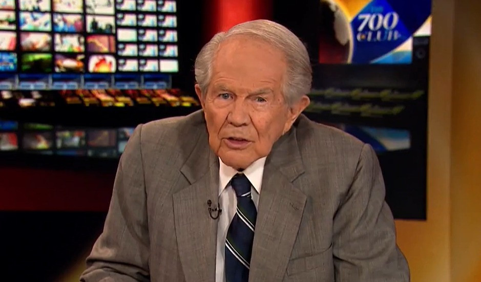 """Pat Robertson hosts a broadcast of """"The 700 Club."""""""