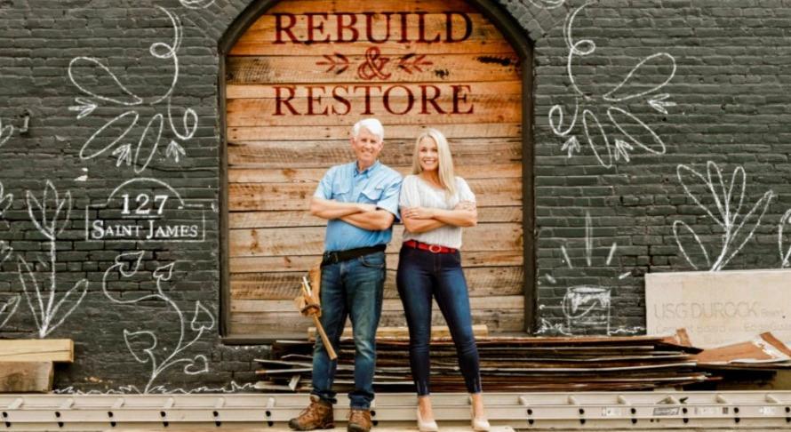 "Shannen Fields (right) with Pure Flix ""Rebuild & Restore"" co-host Ken Fletcher."