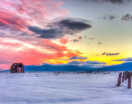 Red Barn in Snow Sunset - Oregon