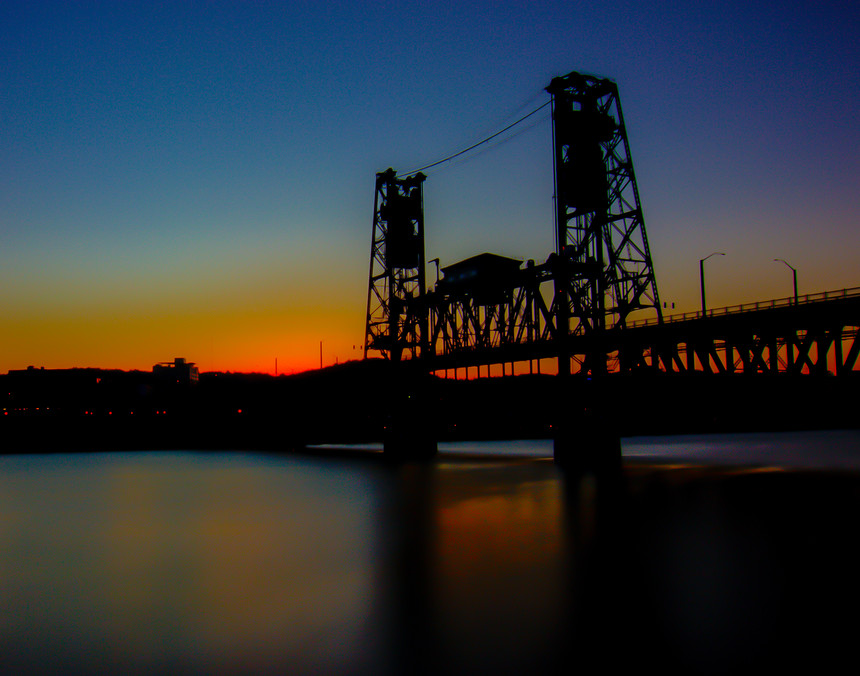 Steel Bridge Night Silhouette