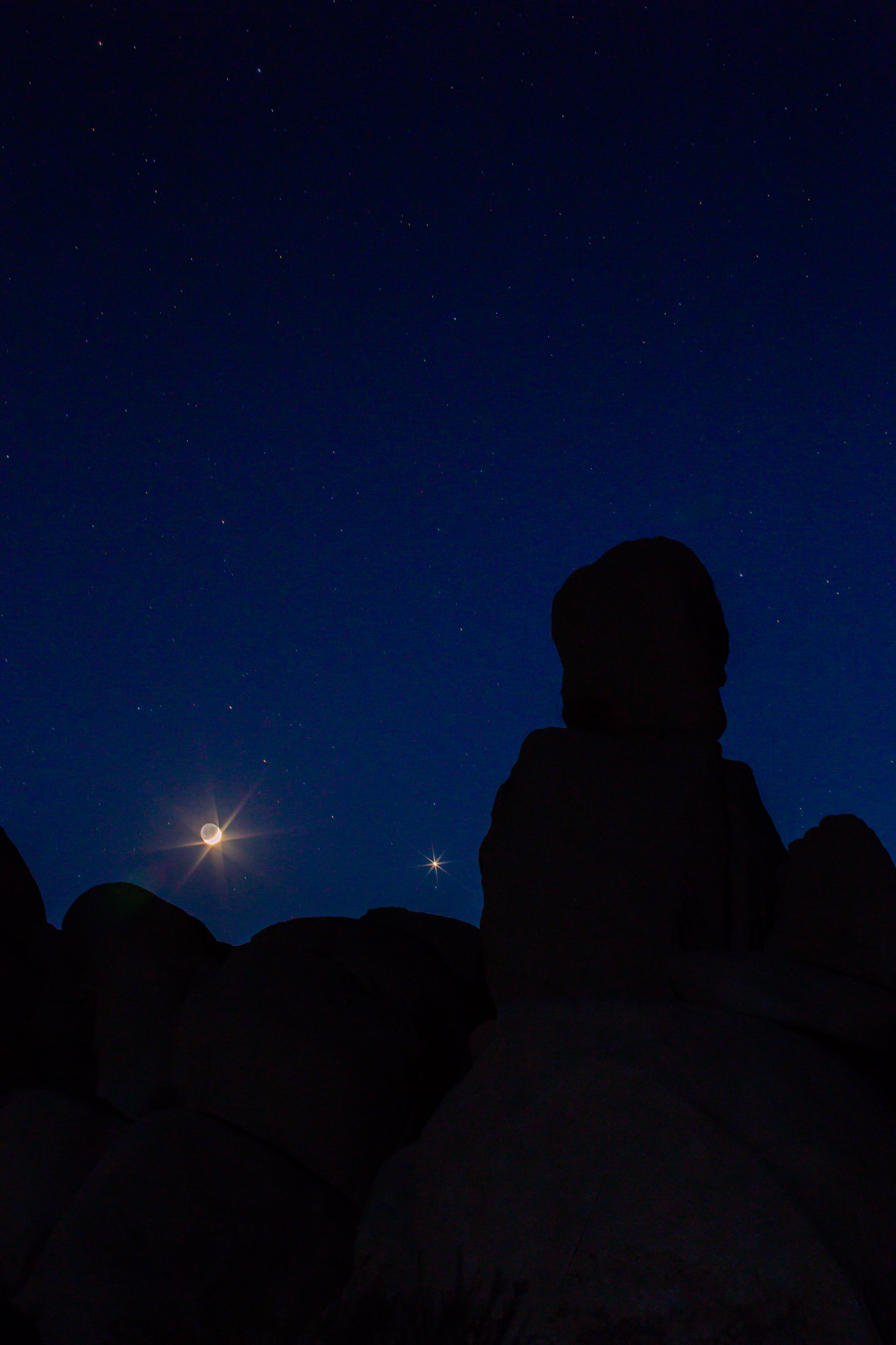 Waxing Crescent Moon in Joshua Tree.