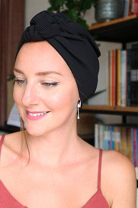 "Turban Bonnet noeud ""Ebène"""