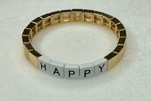 Happy Word Tile Bracelet
