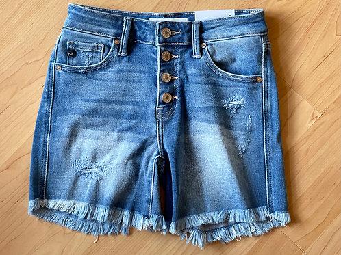 High Rise Medium Wash Fringe Shorts