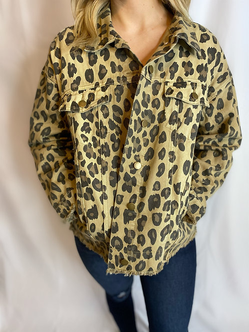 Denim Jacket - Leopard Print