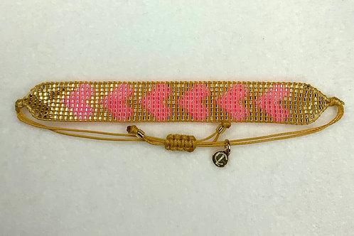 Heart Adjustable Glass Seed Bead Bracelet