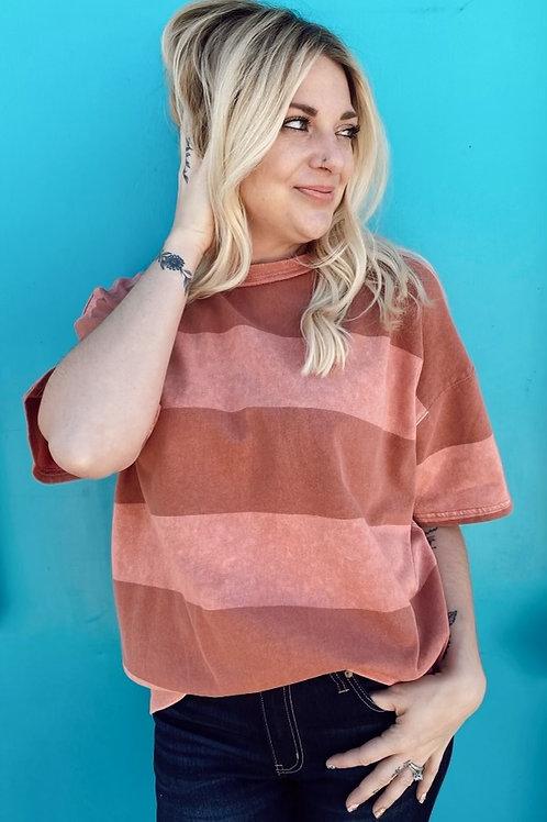 Rose Stripe Short Sleeve Shirt