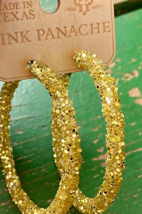 Gold Glitter Hoop Earrings