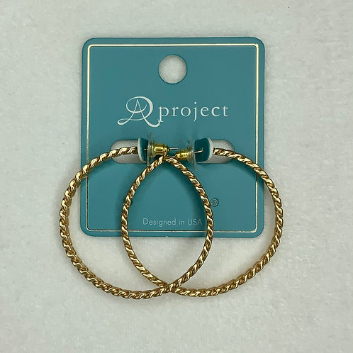 Matte Gold Chain Hoop Earrings