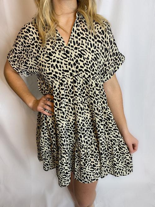 Split Neck Tiered Dress