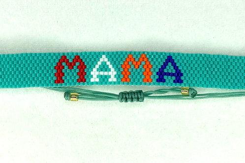Mama Adjustable Glass Seed Bead Bracelet