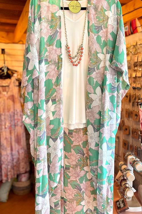 Oversized Floral Chiffon Maxi Kimono