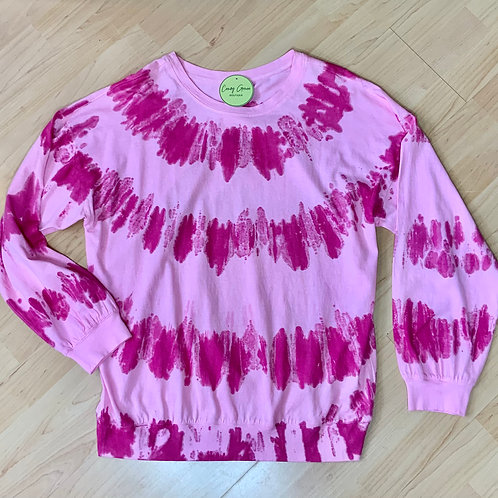 Hot Pink Tie-Dye Long Sleeve Shirt