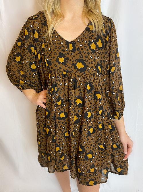 Leopard V-Neck Babydoll Dress