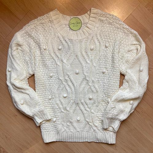 White Pom Pom Knit Sweater