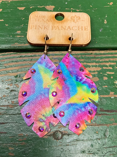 Tie Dye Leather Earrings with Crystal