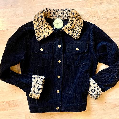 Black Corduroy Jacket with Cheetah