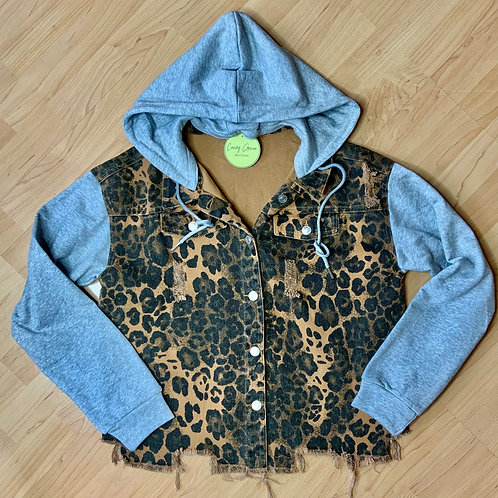 Leopard Denim Jacket With Hood