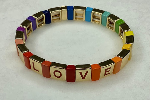 Rainbow Love Tile Bracelet