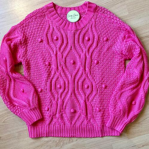 Hot Pink Pom Pom Knit Sweater