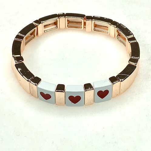 Rose Gold Triple Heart Tile Bracelet