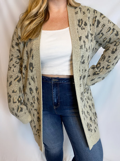 Leopard Knitted Cardigan