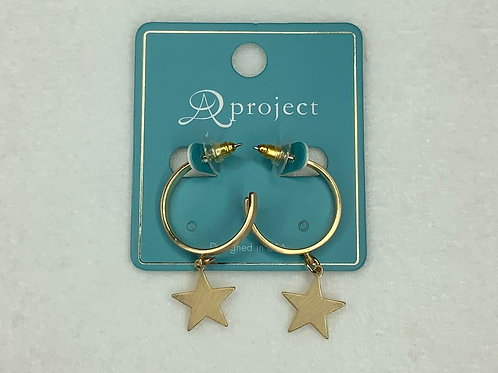 Gold Hoop - Star Charm Earring