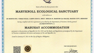 Department of Tourism Cordillera Administrative Region Accredits Maryknoll Ecological Sanctuary 2021