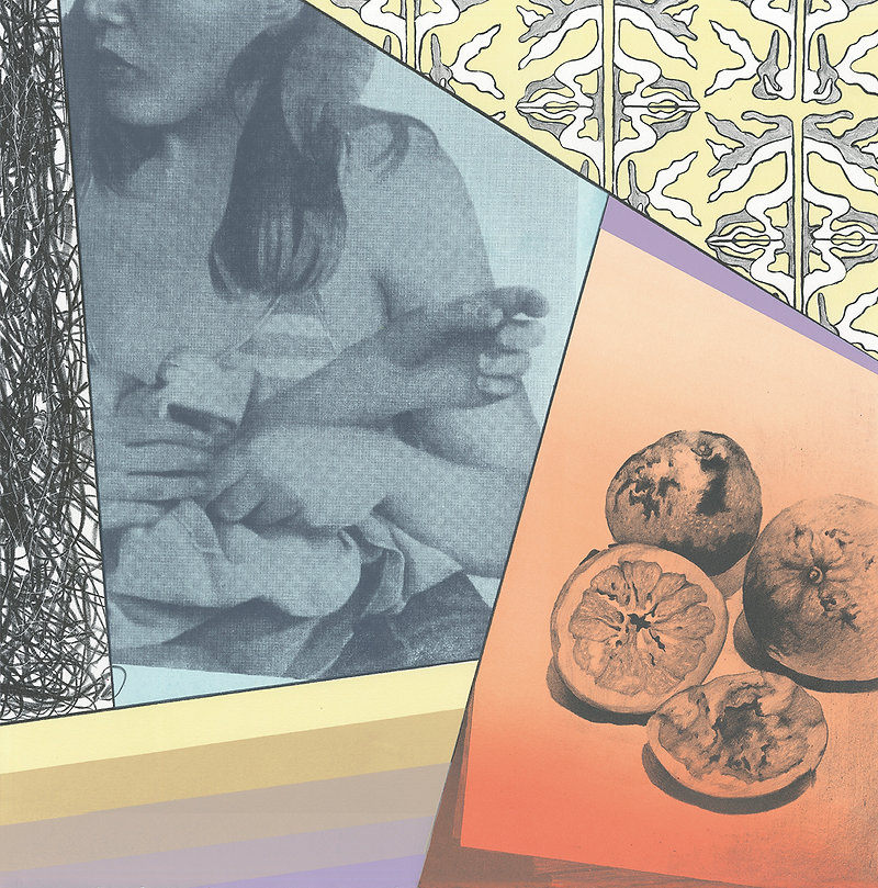 lithography, screen print, hands, women, oranges, drawing, color blocking