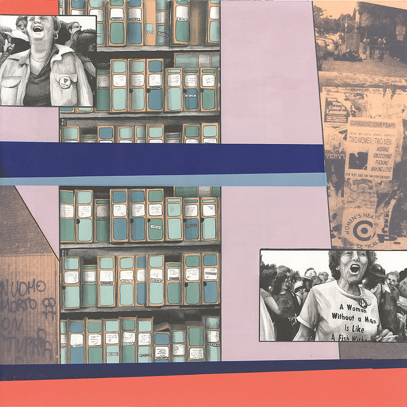 lithography, screen print, protest, archive boxes, color blocking, graffiti