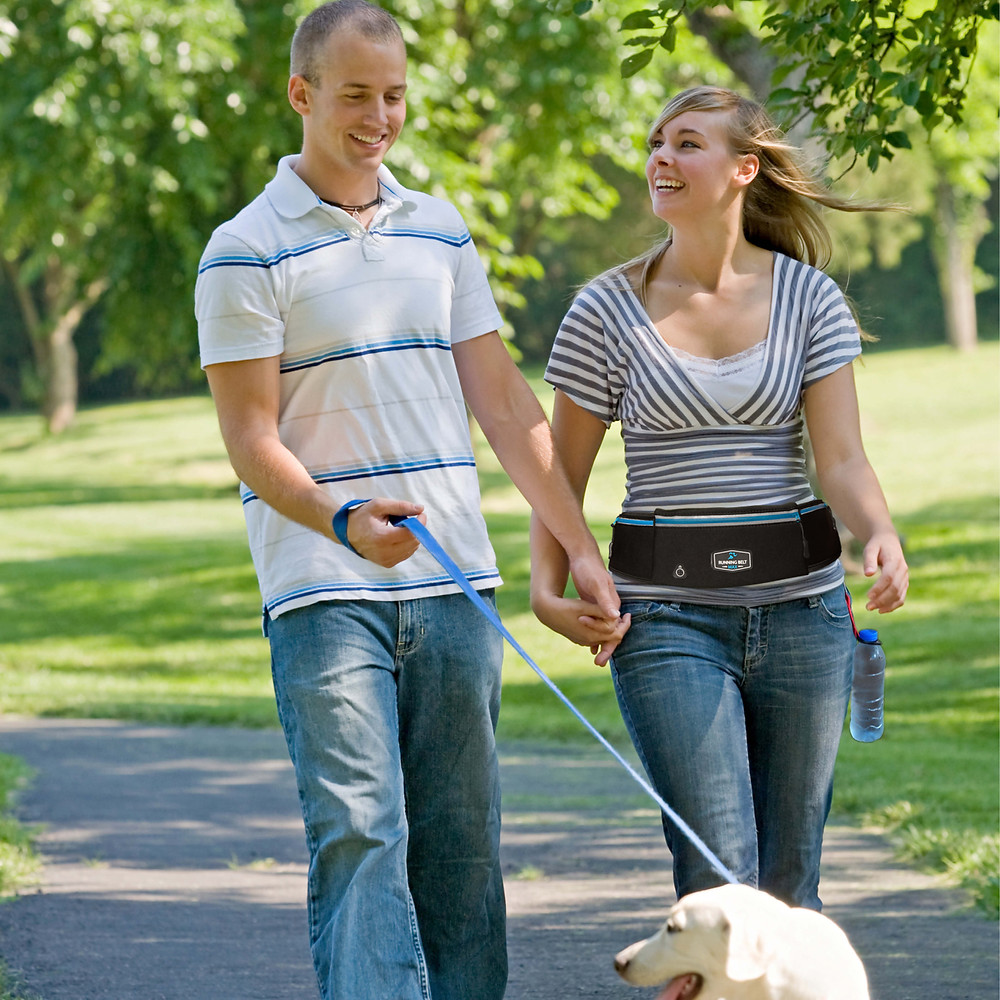 Walking the dog while wearing a Running Belt Max.