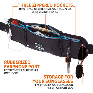 Running Belt Max has 3 zippered pockets
