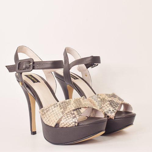 Zapato Serpiente Tacon Negro