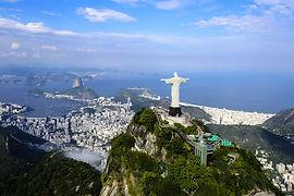 Christ The Redeemer Statue, Rio De Janeiro, Brazil, South Amerca, Hills, sea, beach