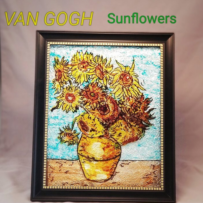 Van Gogh inspired Sun Flowers Framed Art - $25