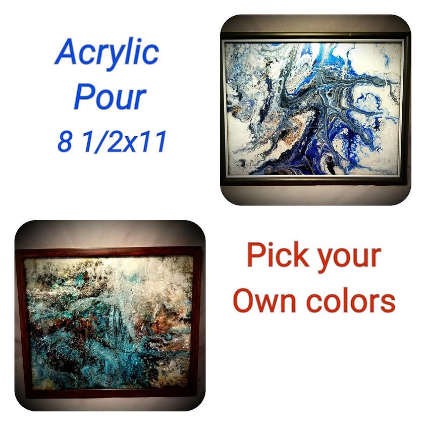 Acrylic Pour Framed Art $30